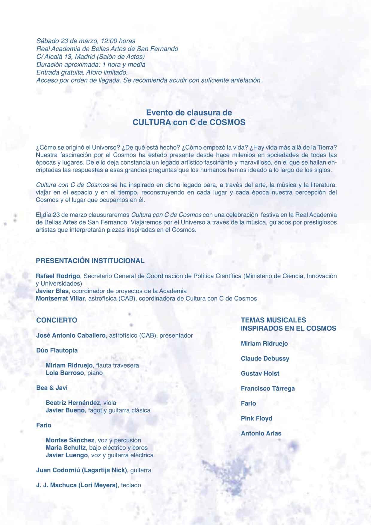 Invitación clausura Cultura con C de Cosmos C3