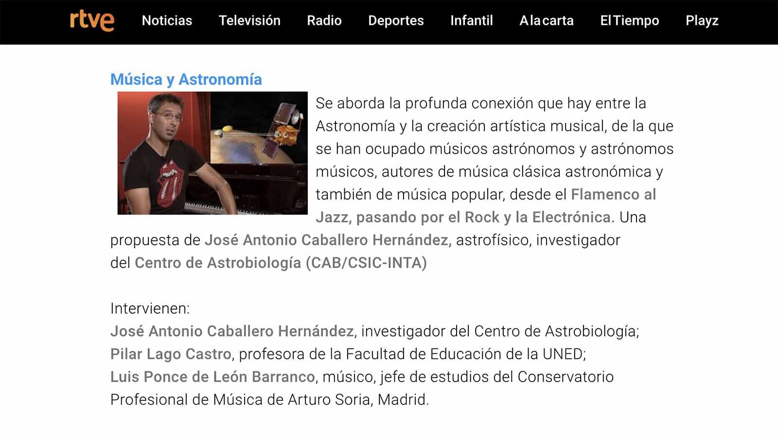 Música y Astronomía La 2 RTVE UNED Conservatorio Arturo Soria C3
